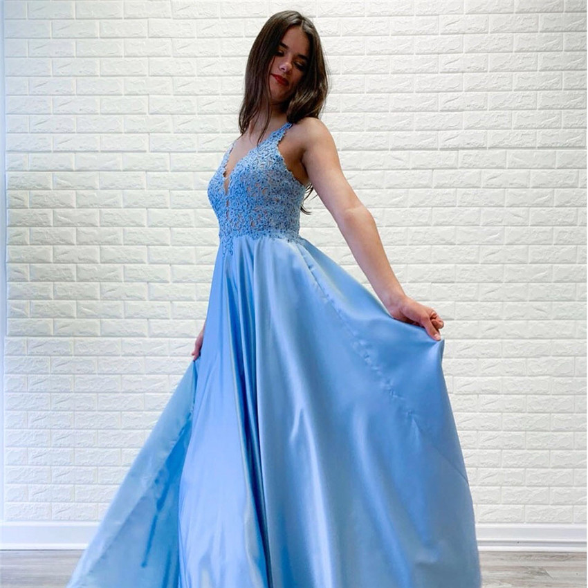 Evening Dress Elegant Lace Appliques Blue V-Neck A-Line Sexy Gowns Formal Party Dress Evening Gowns