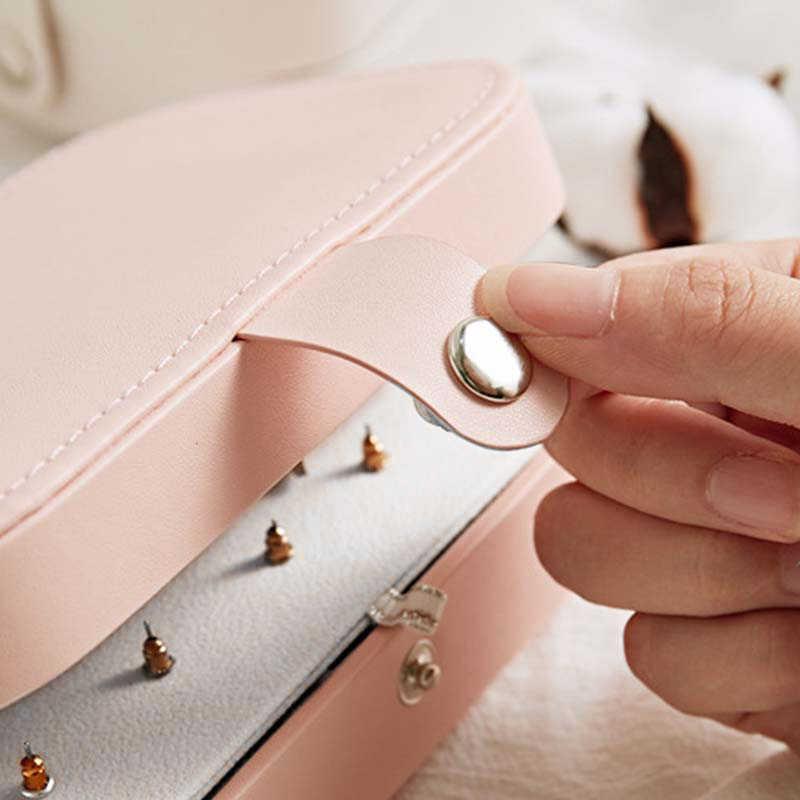 الكورية نمط الطازجة وبسيطة فتاة الأقراط والمجوهرات مربع لوحة بروتابلي أقراط جلدية حلقة متعددة وظيفة مجوهرات صندوق تخزين
