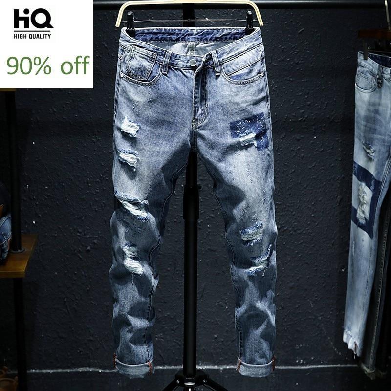 2020 New Fashion Men's Ankle-Length Pants Jeans Male Hip Hop Trousers Korean Style Slim Fit Distressed Jean Cowboys Pants Man