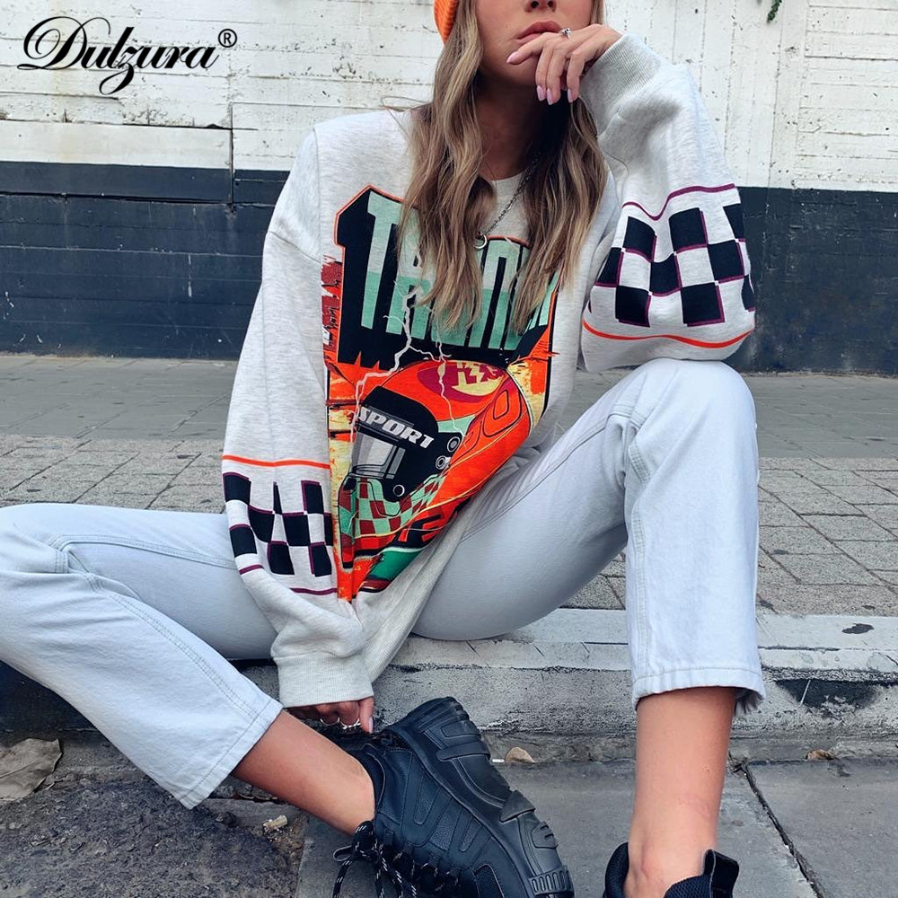 Dulzura Plaid Letter Print Sweatshirt Pullover Casual Women Tops 2020 Spring Summer Clothes Streetwear Casual Oversized Loose