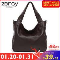 Bolso de hombro elegante para mujer de moda Zency 100% de cuero genuino para mujer bolso de compras de alta calidad para mujer bolso de mano para Hobos café negro