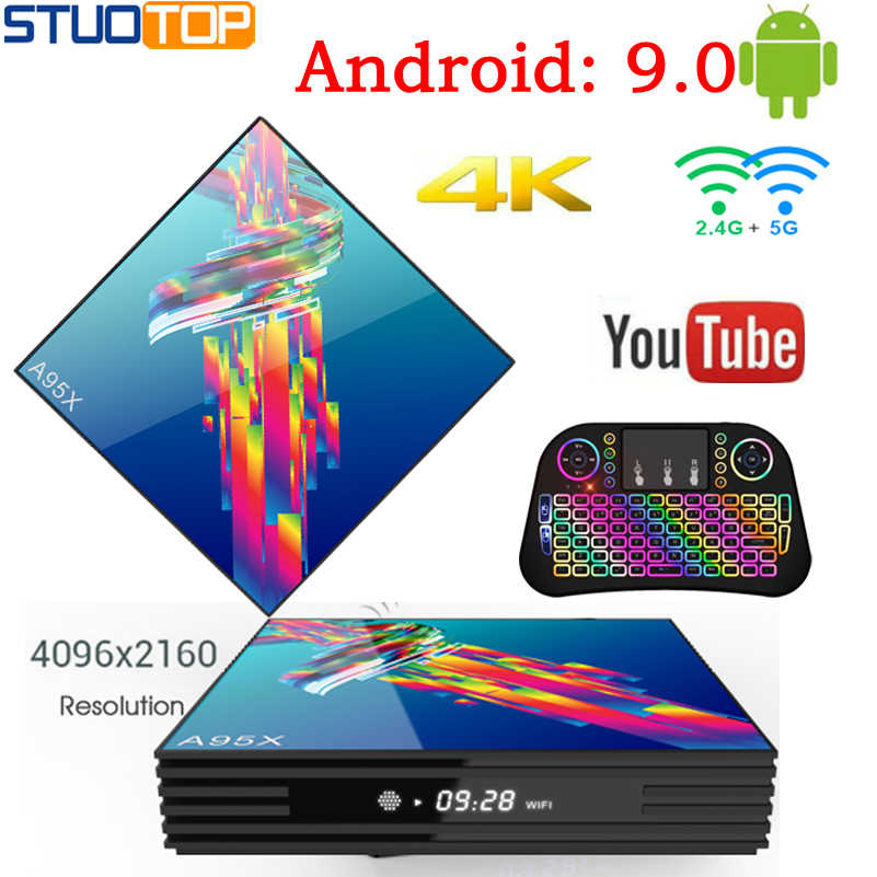STUOTOP A95XR3 Android 9.0 Caixa de Tv Inteligente IPTV Set Top Box RK3318 Mi ni 2.4G & 5G Dupla WI-FI 4K 3D Quad Core media playe 64 32 4G G G