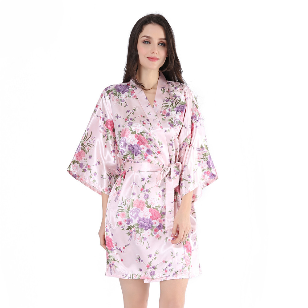 Female Mini V-Neck Negligee Print Flower Kimono Bathrobe Gown Short Sleeve  Satin Sexy Sleepwear Novelty Intimate Lingerie
