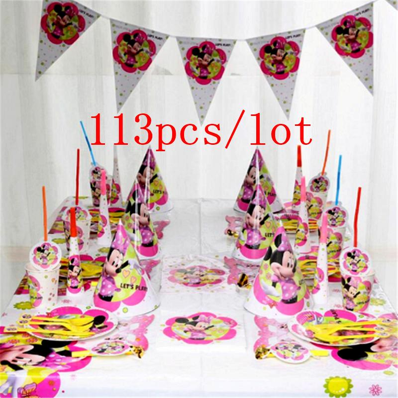 Us 18 3 20 Off 113pcs Minnie Mouse Theme Disposable Tableware Set Kids Birthday Party Baby Shower Minnie Mouse Party Decoration Banner Supplies In