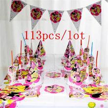 113pcs Minnie Mouse Theme Talheres Descartáveis Conjunto de Aniversário Dos Miúdos Fontes do Partido Do Chuveiro Do Bebê Minnie MOUSE Decoração Do Partido Bandeira