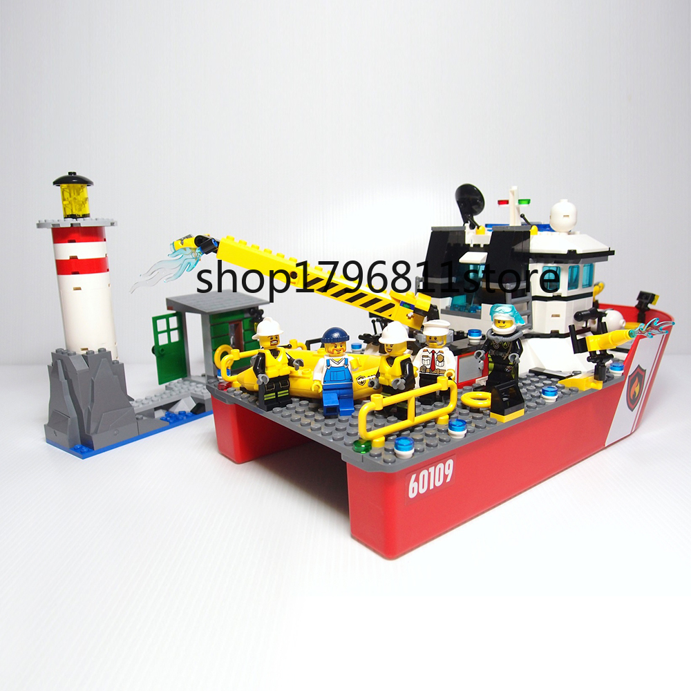 10830 450pcs City Fire Boat Building Blocks Bricks Children's Christmas gift Compatible with Legoinglys <font><b>60109</b></font> image