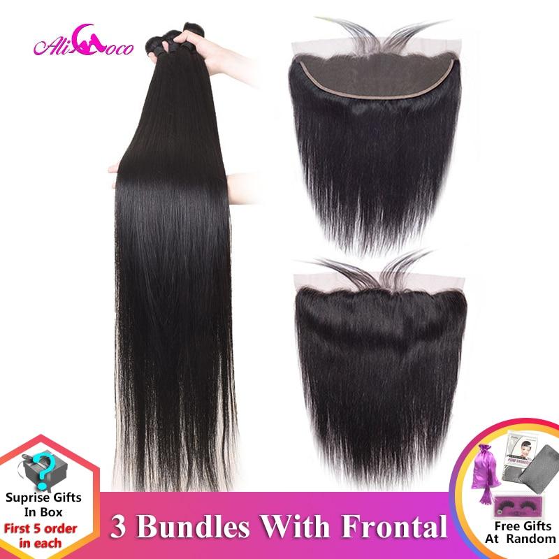 Ali coco 28 30 32 34 40 Polegada pacotes retos brasileiros com rendas frontal feixes de cabelo humano com frontal remy extensões do cabelo