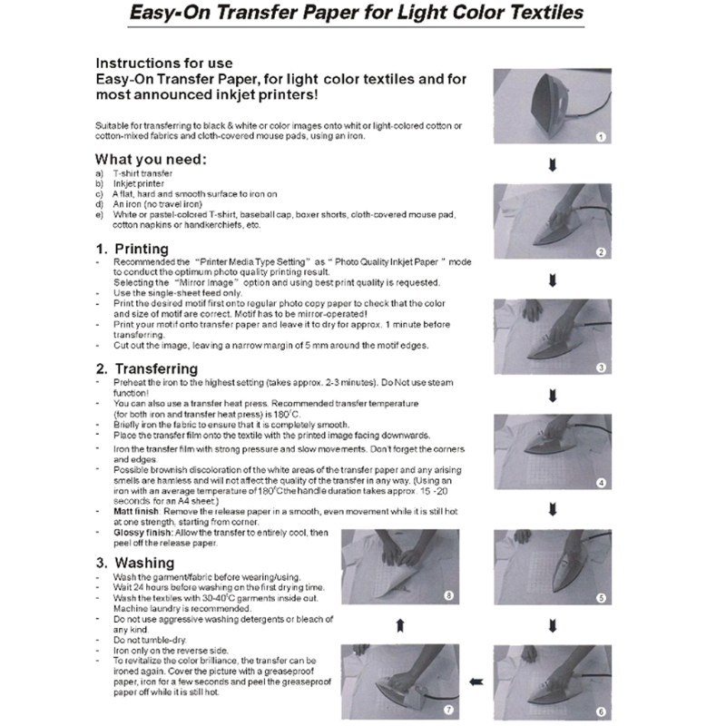 Купить с кэшбэком 10 Sheets A4 Iron On Inkjet Print Heat Transfer Paper for DIY Craft T-shirt New