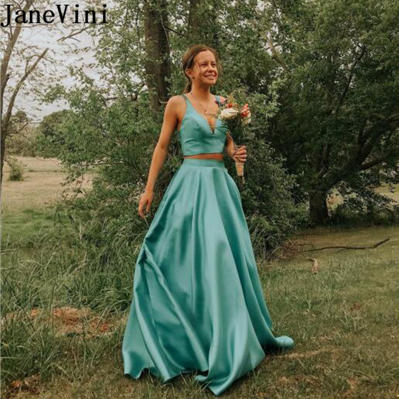 JaneVini Simple Two Pieces Long Prom Dresses Satin A Line 2 Piece Sleeveless V Neck Teenager Evening Party Dress Jurkjes 2020
