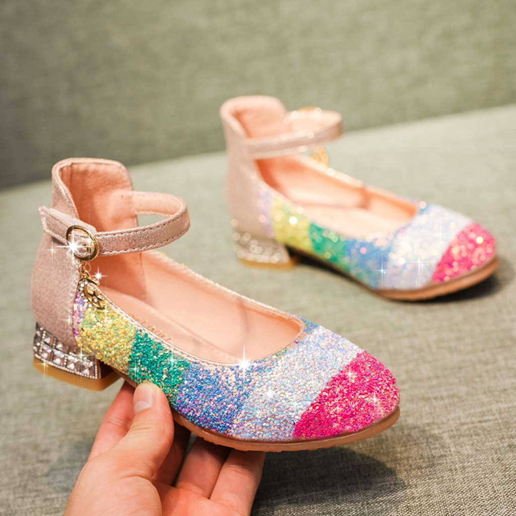 Rainbow Princess Shoes for Baby Girls Fashion Crystal Bow-knot Flats Shoe Children Party Dancing Shoes Girl Casual Loafers Flats