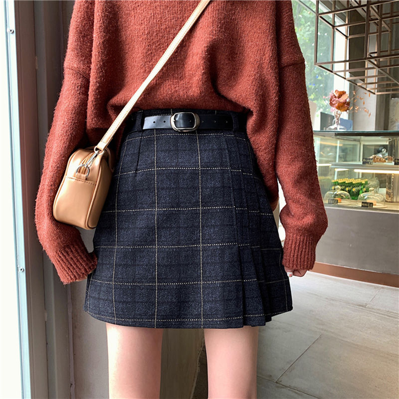 Winter Casual Plaid Women Mini Skirt Korean A-Line Above Knee Sashes Skirts Sweet Cute Students High Waist Vintage Sk