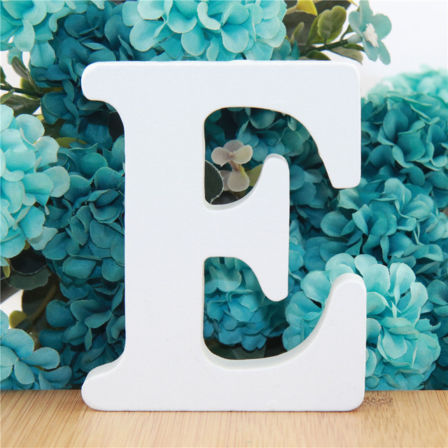 1pc 10cm White Wooden Letters Alphabet DIY Word Letter Party Wedding Home Decor Name Design Art Crafts Standing 3.94 Inches 5