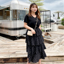 New fashion Korean plus-size womens dress the age of autumn two-piece version new cake skirt 2117