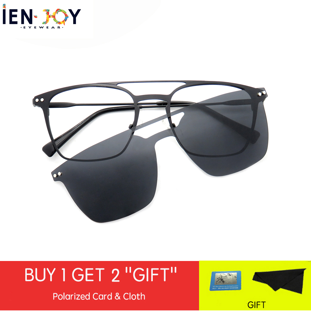 IENJOY Magnet Clip On Optical Frame Men Sunglasses Polarized Sunglasses Square Sun Glasses Men Driving Fishing Eyeglasses