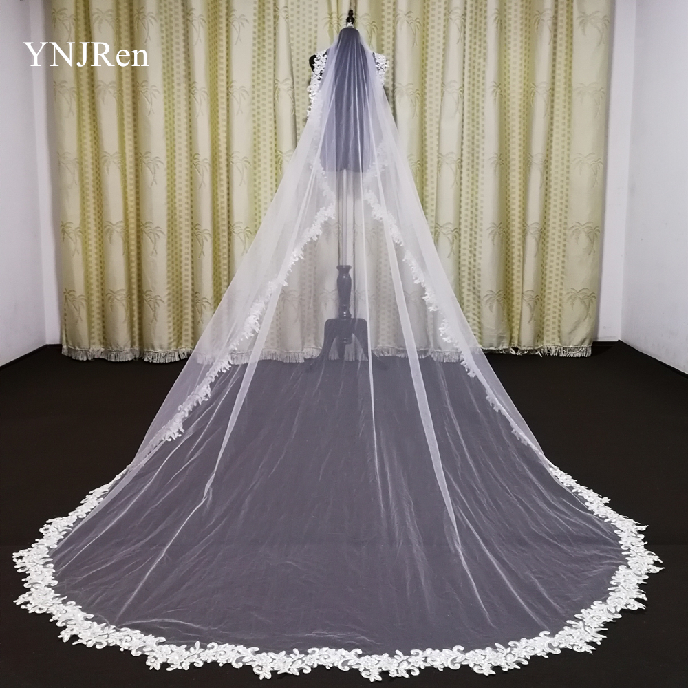Real Photo 3 meters Bridal Veils Full decal Applique Edge Cathedral wedding veil white ivory veil with comb Veu De Noiva