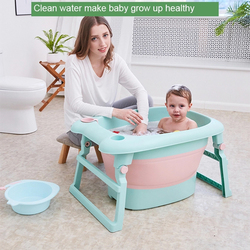 Baby Bathtub for Kids Portable Folding Children Bath Barrel Large Household Seated Collapsible Plastic Foldable Bathtub Kids
