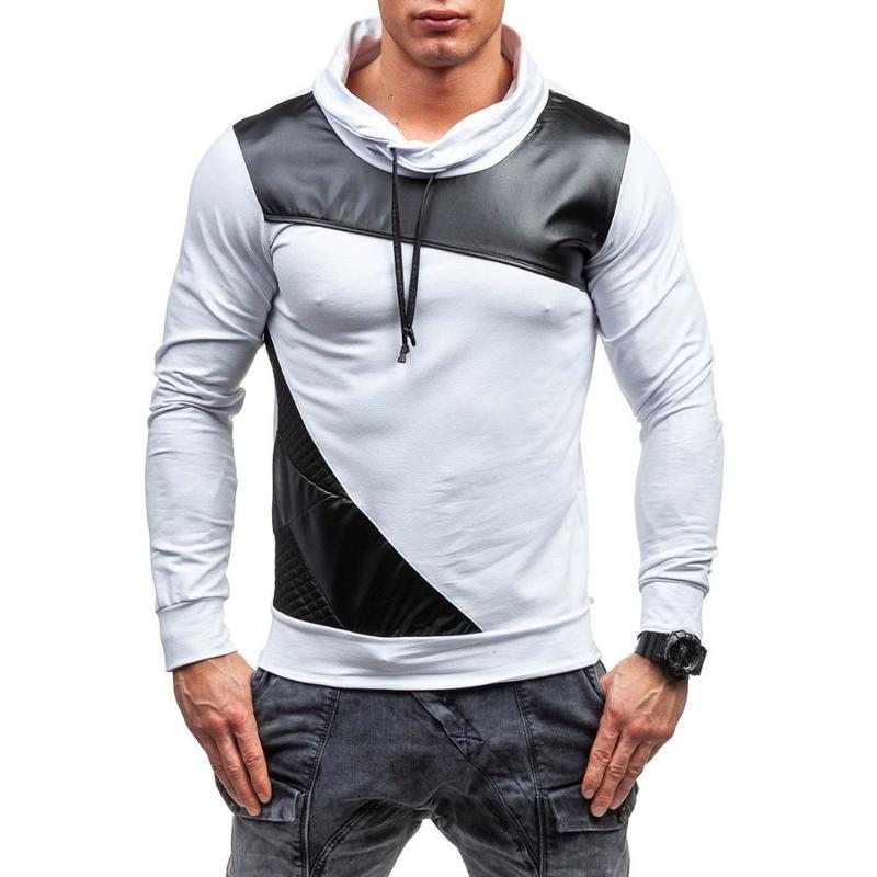 Image 2 - ZOGAA 2019 PU Leather Mens Polo Shirt Long Sleeve Slim Patchwork Lapel Polos Casual Leather Splice Cool Polos Autumn Male Tops-in Polo from Men's Clothing