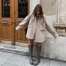 PUWD-camisa de lana con bolsillo suelto para mujer, de manga larga de Camel abrigo grueso, Casual, a la moda, Otoño, ropa larga, 2021