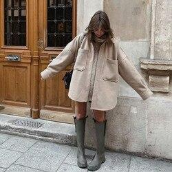 Puwd casual mulher camelo solto bolso camisa de lã 2021 moda senhoras outono manga longa grossa blusa casaco feminino longo outwear