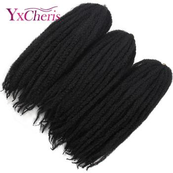 Marley warkocze włosy Afropunk perwersyjne kręcone plecionki syntetyczne puszyste włosy szydełkowe warkocze włosy naturalne włosy styl tanie i dobre opinie YXCHERISHAIR Włókno o niskiej temperaturze Warkocze w stylu marleyowskim 20 nici opakowanie Realny kolor