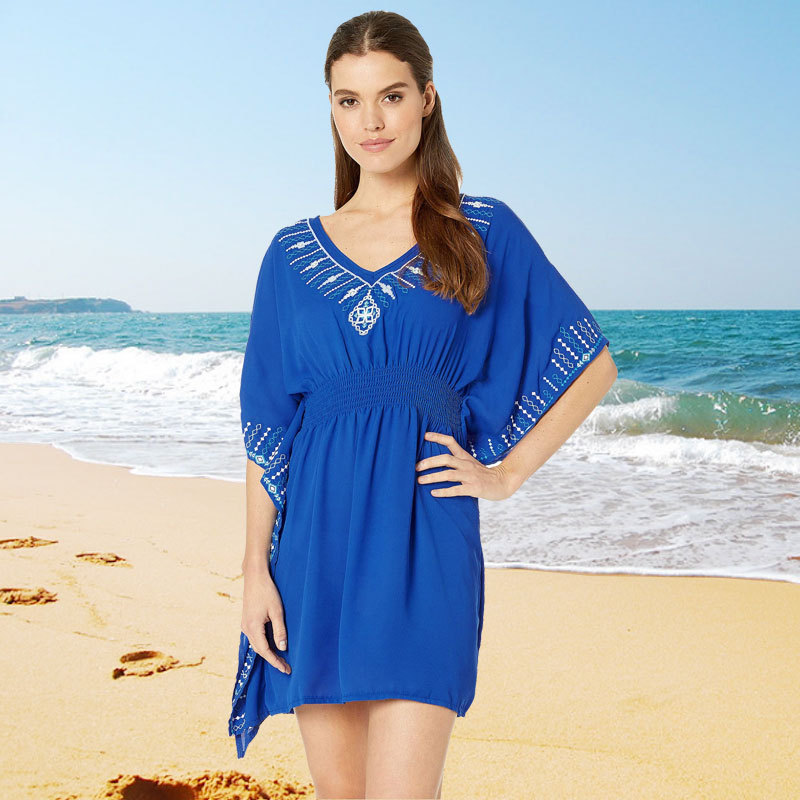 Embroidery Cotton Beach Caftan Tunic Cover up Saida de Praia Swimsuit