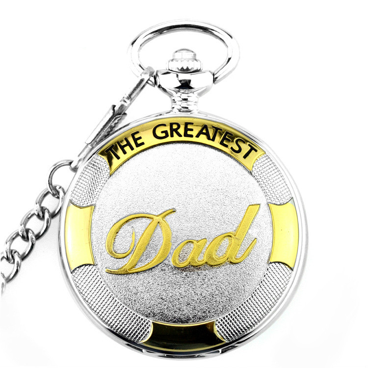 Pocket WatchSilver&GoldThe Greatest  DAD  Quartz Pocket Watch  With FOB Belt Watch Chain Xmas Watch Gift For Father Gift