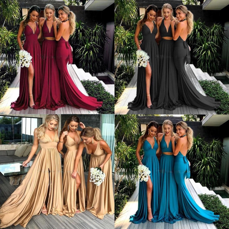 New Europe And The United States Women's Speed To Sell Through Amazon Hot Style Harness Deep V Dress Bridesmaid Dresses