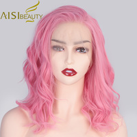 AISI BEAUTY 13*4 Synthetic Lace Front Wigs Wavy Pink Short Wig for Women Black Blonde 613 Cosplay Free Part Wig High Resistant