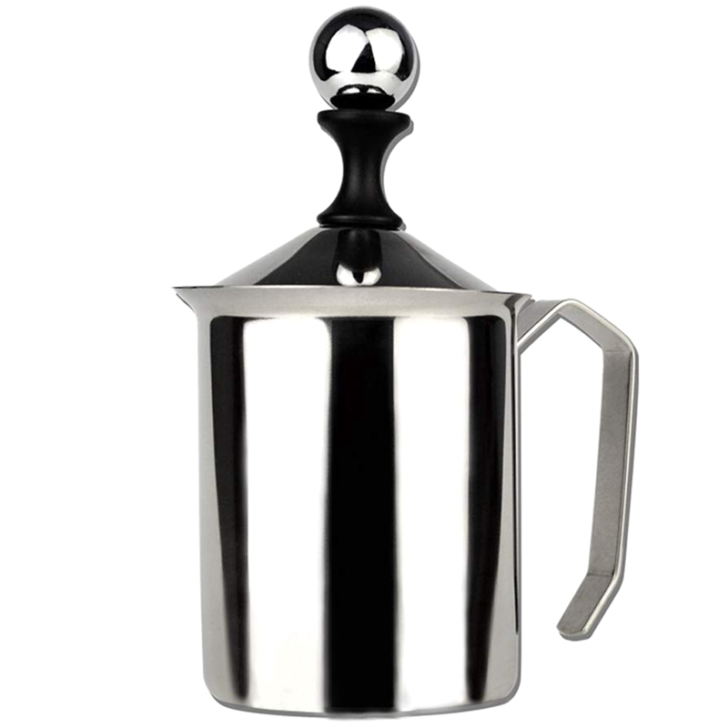 Manual Foamer Cream Cappuccino Latte Foam Pitcher Handle, Lid, Double Layer Filter, Stainless Steel, 17 Ounce Capacity (500 Ml)