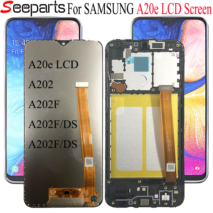 AMOLED For SAMSUNG Galaxy A20e LCD Display Touch Screen With Frame A202 A202F A202F/DS SM-A202F/DS For SAMSUNG A20e LCD Screen