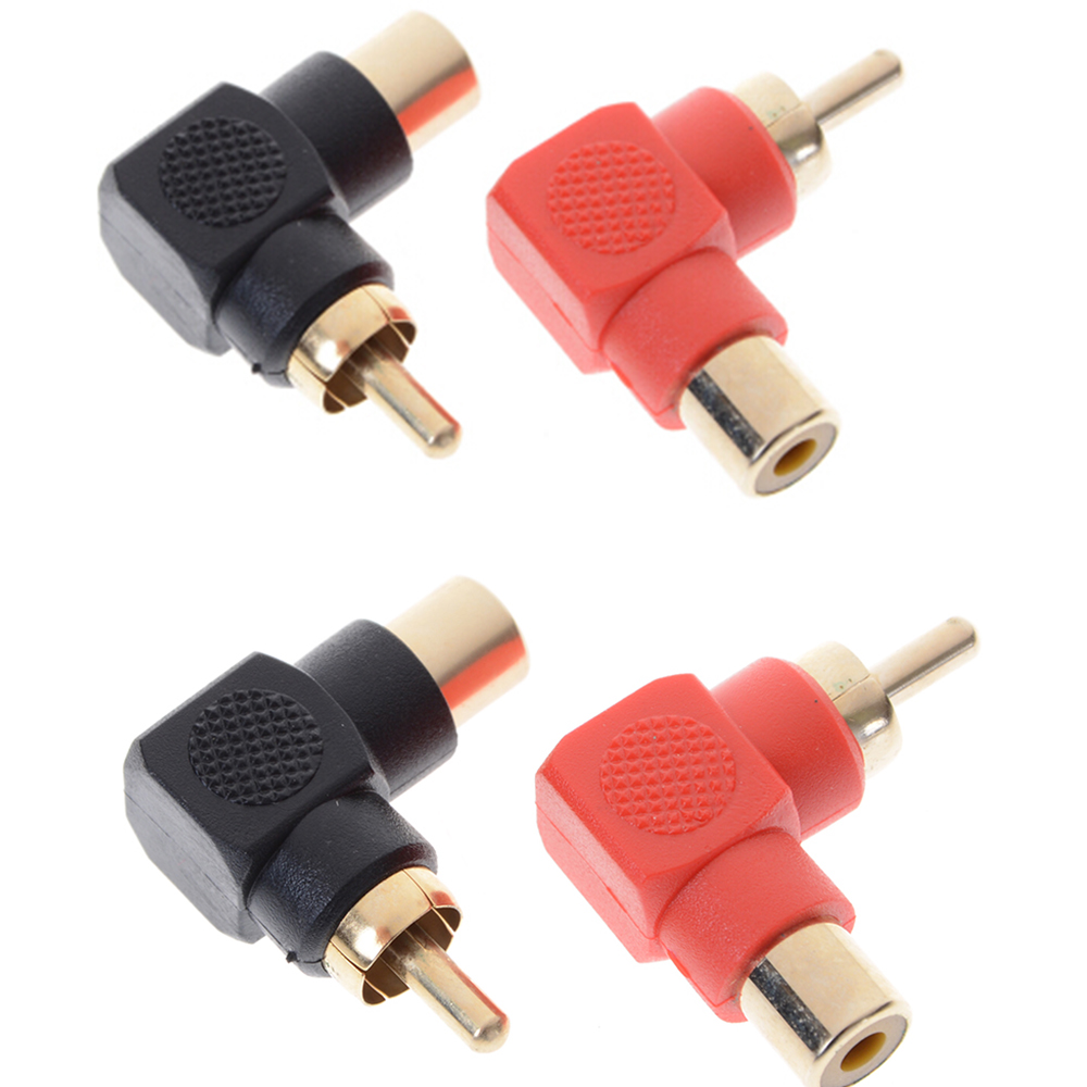 1/2 Pcs 90 Degree RCA Right Angle Connector Plug Adapters Male To Female M/F 90 Degree Elbow Audio Adapter