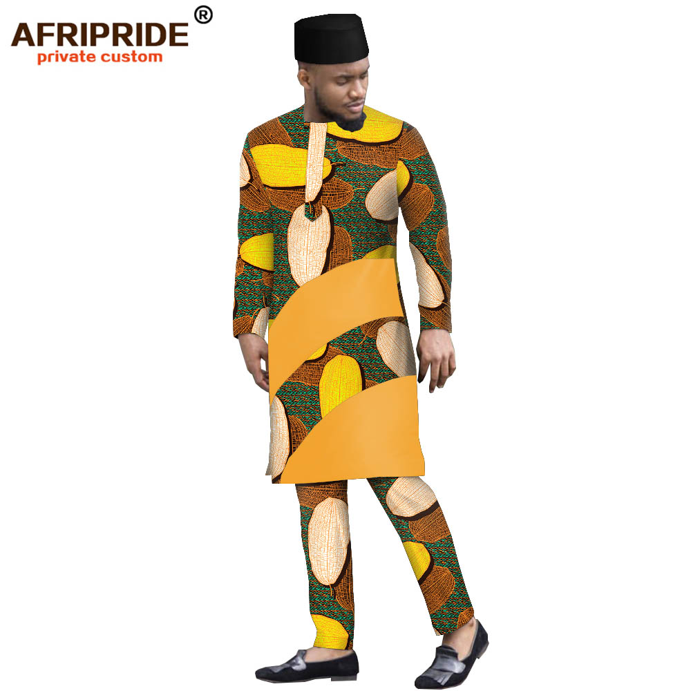African Clothing For Men Print Long Shirts Ankara Pants Tribal Hat 3 Piece Suit Dashiki Outfits Outwear AFRIPRIDE A1916004B