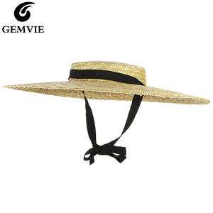 Summer Hats Straw-Hat Ribbon Beach-Cap Flat-Top Boater Large Women Brim New GEMVIE