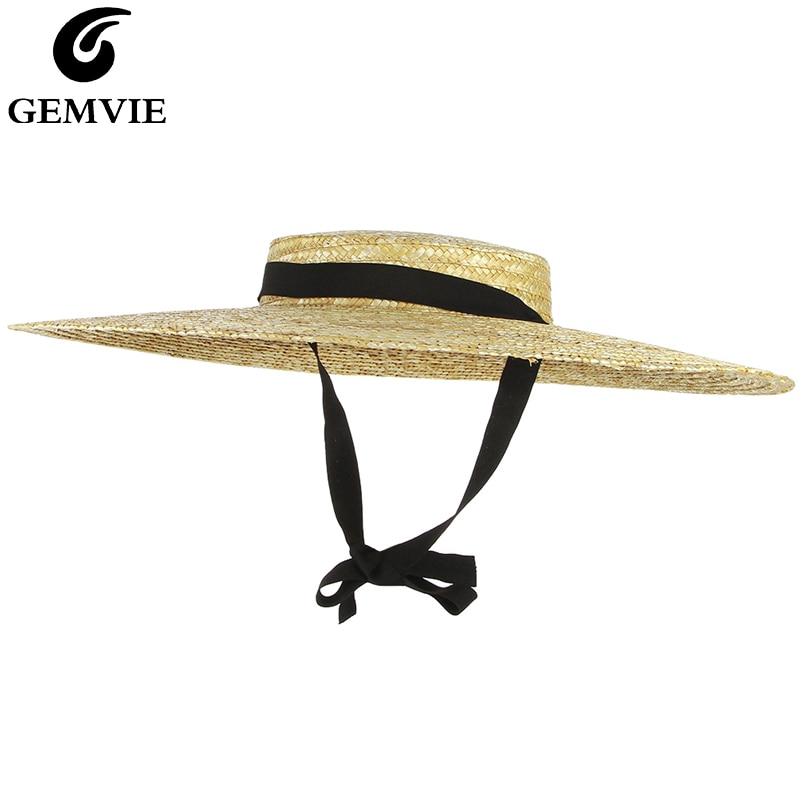 GEMVIE New Large Brim Straw Hat Summer Hats For Women Ribbon Beach Cap Boater Flat Top Sun Hat