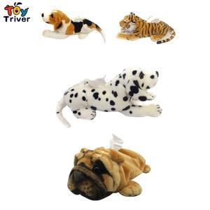 Simulation Rottweiler Leopard Tiger Dalmatian Beagle Shar Pei Plush Toy Dog Napkin Paper Holder Tissue Box Cover Room Auto Decor(China)
