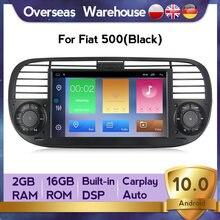 Carplay autoradio android10 quad core rádio do carro dvd player multimídia para fiat 500 buit em dps navegação gps wifi rds vídeo