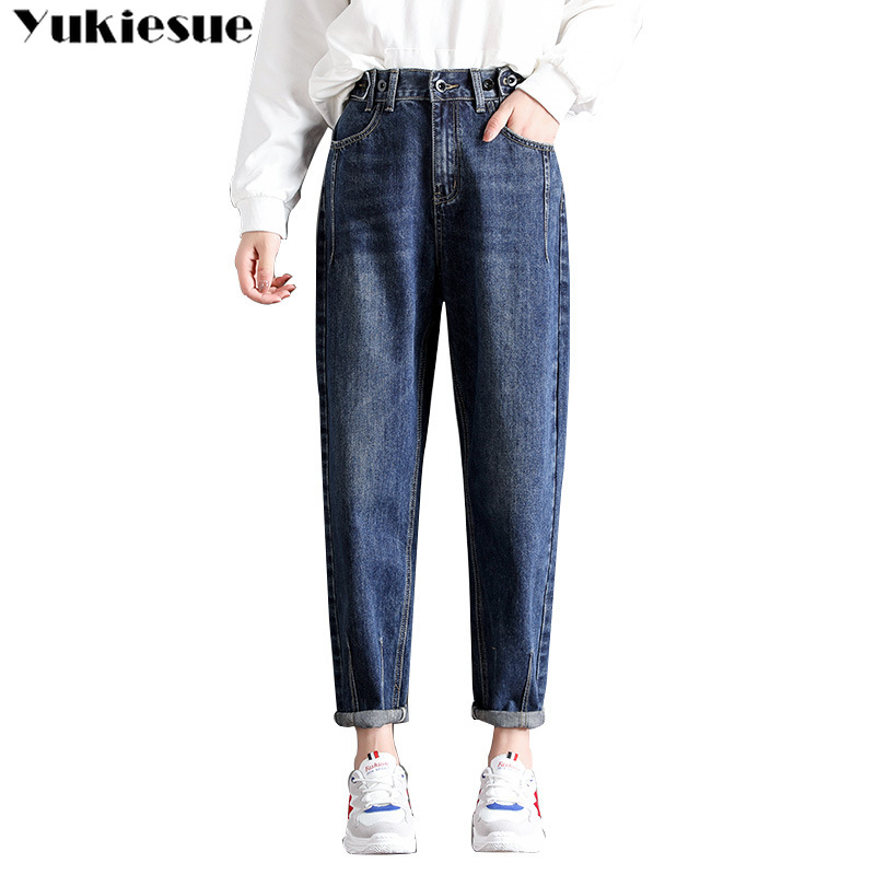 2019 Autumn Slim Jeans Woman Harem Pants Vintage High Waist Jeans Ladies Casual Loose Boyfriend Cowboy Long Pants Plus Size