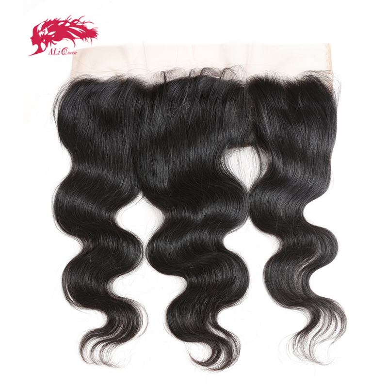 Ali Queen HD Transparent Lace Frontal Ear To Ear 13X4 Closure With Baby Hair Brazilian Body Wave Free Part Virgin Hair