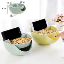Прямая поставка креативная форма ленивая закуска пластиковая двухслойная коробка для хранения еды для перекуса чаши фрукты тарелка с держателем телефона для ТВ d2