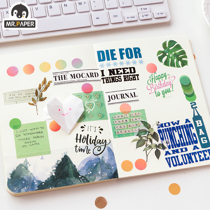 Mr.Paper 14*14mm Hard Candy Dot Color Washi Journaling Writing Memory Washi Tape Deco Gift Label Ins Masking Tapes Easy to Tear 6