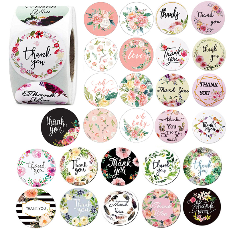 500Pcs Round Floral Thank You Stickers 1inch Flower Wedding Favors And Party Handmade Stickers Envelope Seal Stationery Sticker