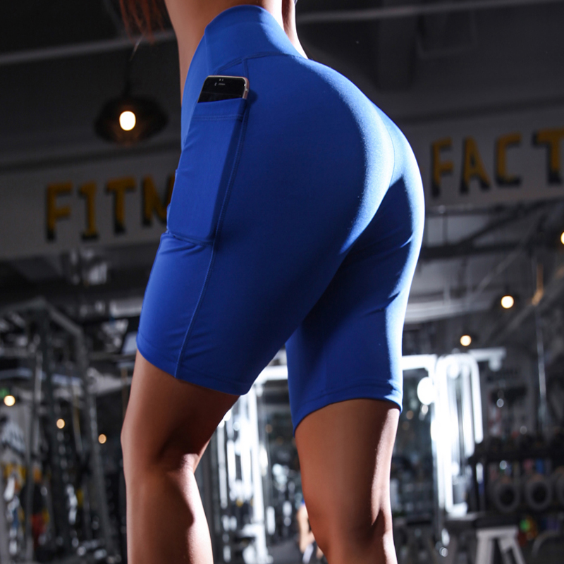 High Waist Fitness Women Shorts With Pocket Quick Dry  Elastic Workout Short Cycling Shorts  Femme Slimming