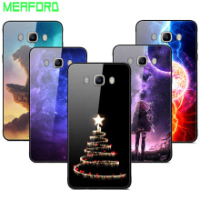 цена на For Samsung Galaxy J7 2016 j710 Case Tempered Glass Planet Space Cover Glass Back Case for Coque Samsung J7 2016 Cover J710 Capa