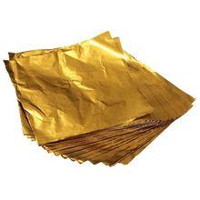 Большая сделка 100 шт квадратные Конфеты Шоколад Lolly бумага алюминиевая фольга обертки золото