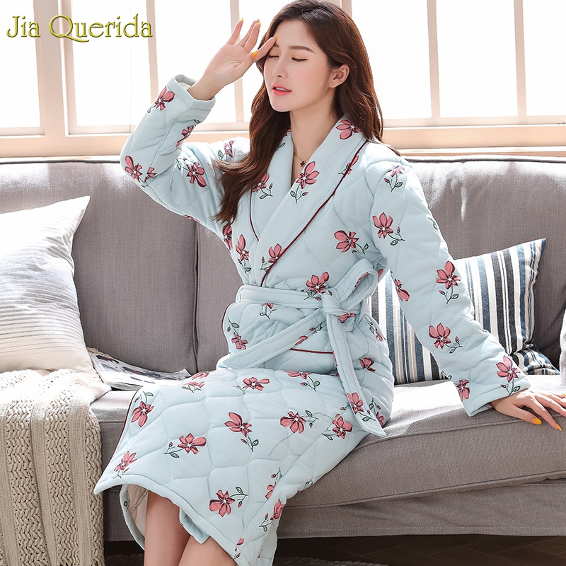 Kimono Robe Womens Homewear Winter Cotton 3 Layers Padded Plus Size Xxl Xxxl Blue Robe With Floral Printing Nightgowns Robes New