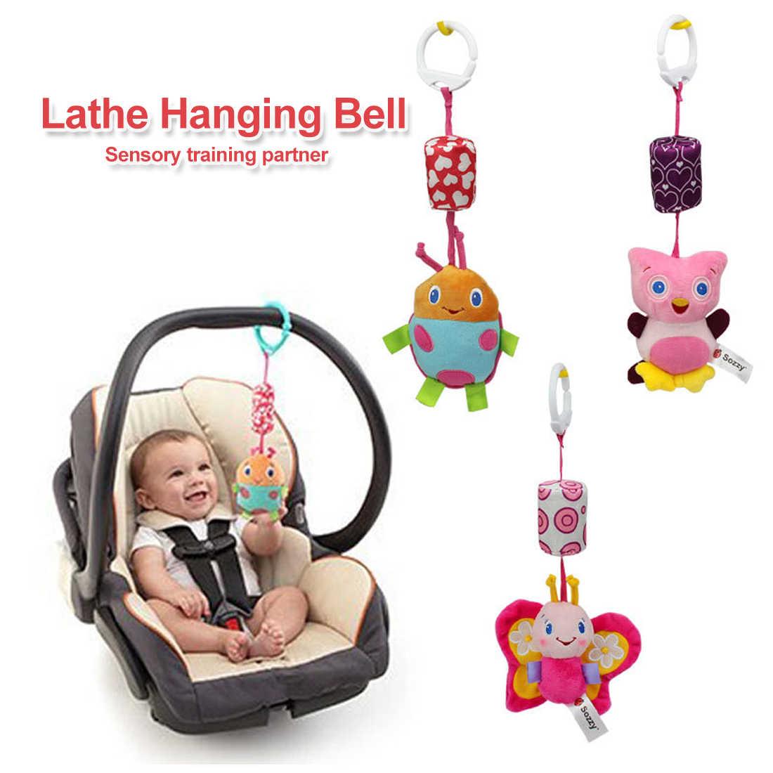 Juguetes del bebé 0-12months cuna móvil musical de juguete de peluche de felpa para cochecito colgando cama de dibujos animados de animales de viento con mordedores de silicona