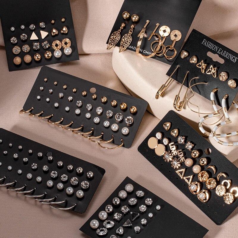 Women's Earrings Set Retro Korean Geometric Stud Earrings for Women Korean Gold Small Metal Pearl Earring 2021 Trend Jewelry