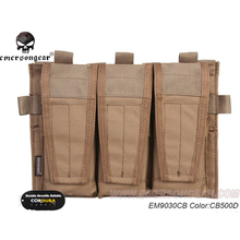 emersongear Tactical Triple Mag Pouch For AVS Detachable Flap M4 M16 AR15 5.56 .223 Pouches MOLLE Airsoft Gear