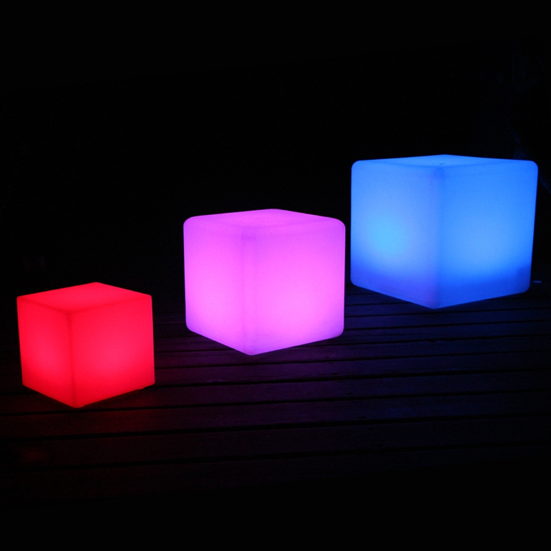 9.84 Inch 16 Color Changing With 24 Keys Remote Control D25cm LED Square Bar Chair Cube Lighting Stool Free Shipping 10pcs/lot