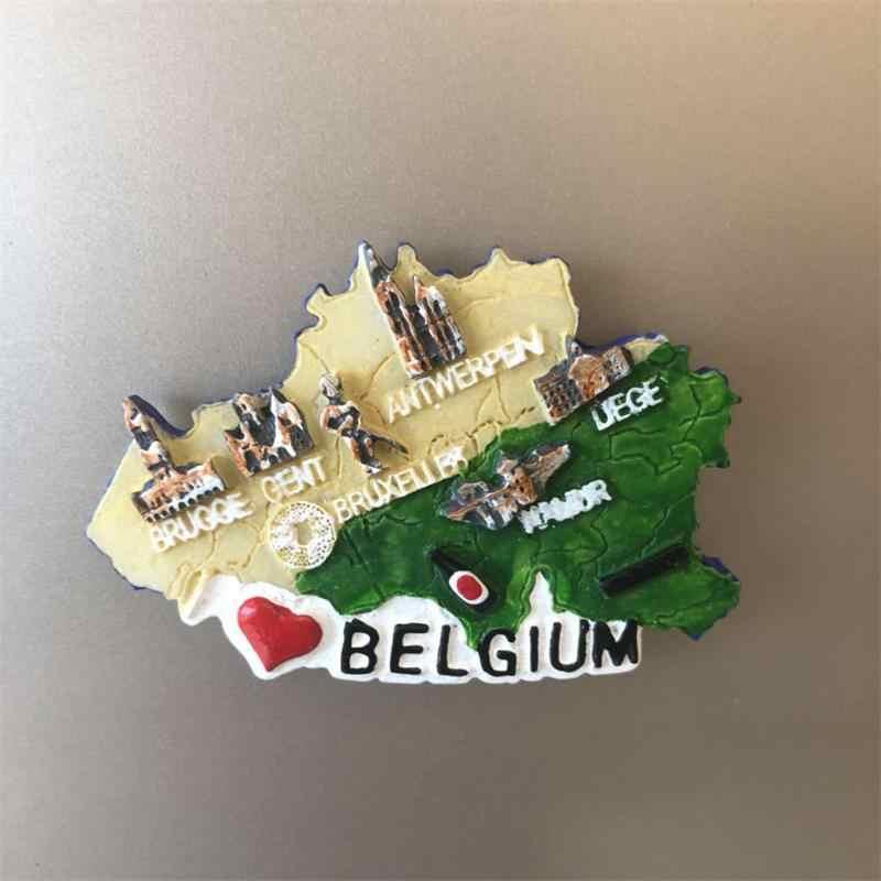 Yaratıcı Buzdolabı Mıknatısı Belçika Turistik yerler Dünya Mimari Hediyelik Eşya Reçine Buzdolabı Çıkartmalar Ev mutfak dekoru